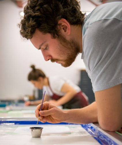 Art students in a studio class