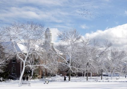 Winter on UMaine's Mall with Stevens Hall in the background